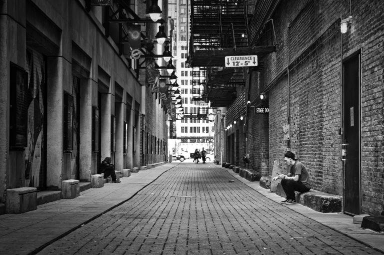 A Quick Smoke Break at Calhoun Pl Alley